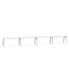 "Series A Single Desk for 4, White, 57"", White Legs,White,hi-res"
